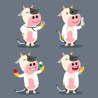 Vaca como ilustración de personaje plano médico de granja