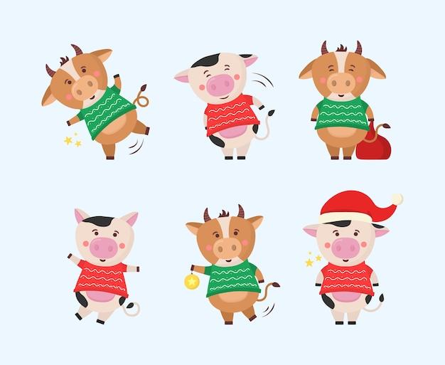 Vaca de dibujos animados chinos, símbolo del zodíaco de 2021.