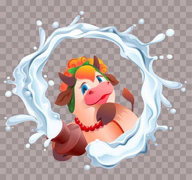 Vaca de dibujos animados lindo divertido con olla de barro de leche. la leche salpica en un círculo.