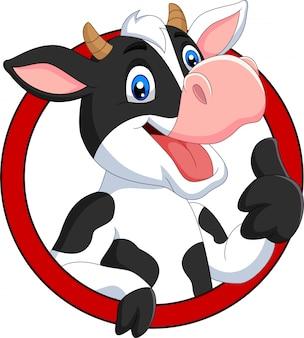 Vaca feliz de dibujos animados rindiendo pulgar