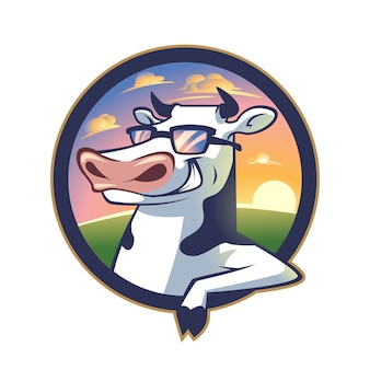 Vaca fresca de dibujos animados que se inclina en un logotipo de mascota de personaje de emblema
