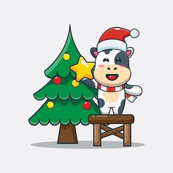 Vaca linda con árbol de navidad ilustración de dibujos animados lindo de navidad