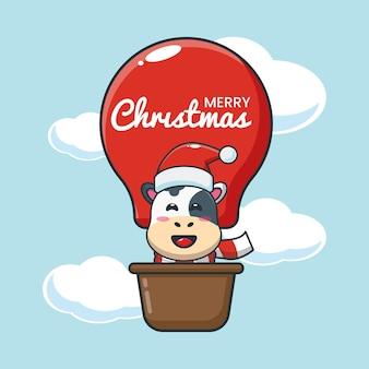 Vaca linda en globo de aire ilustración de dibujos animados lindo de navidad