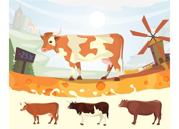 Vaca linda con ilustración de río de leche colorido paisaje quinta granja animal mamífero de dibujos animados