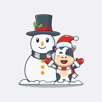 Vaca linda con muñeco de nieve ilustración de dibujos animados lindo de navidad