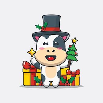 Vaca linda que sostiene la estrella y el árbol de navidad ilustración linda de la historieta de la navidad