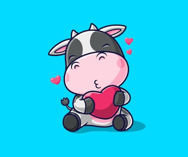 Vaca linda que sostiene la ilustración del icono del amor. personaje de dibujos animados de la mascota de la vaca.