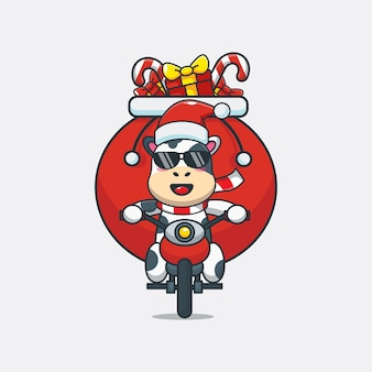 Vaca linda con traje de navidad montando una motocicleta linda ilustración de dibujos animados de navidad