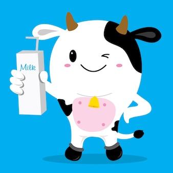 Vaca lindo personaje de dibujos animados diseño vectorial
