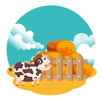 Vaca de pie junto a paca de heno
