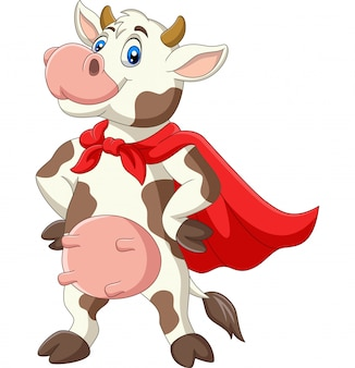 Vaca de superhéroes de dibujos animados en capa roja posando