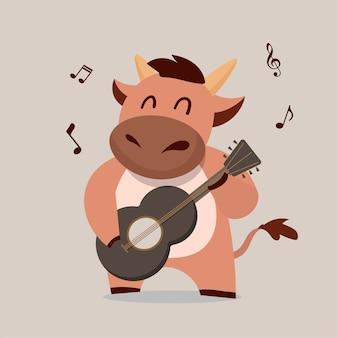 Vaca tocando la guitarra. año nuevo chino buey diseño de caracteres del zodíaco. cute dibujos animados de animales.