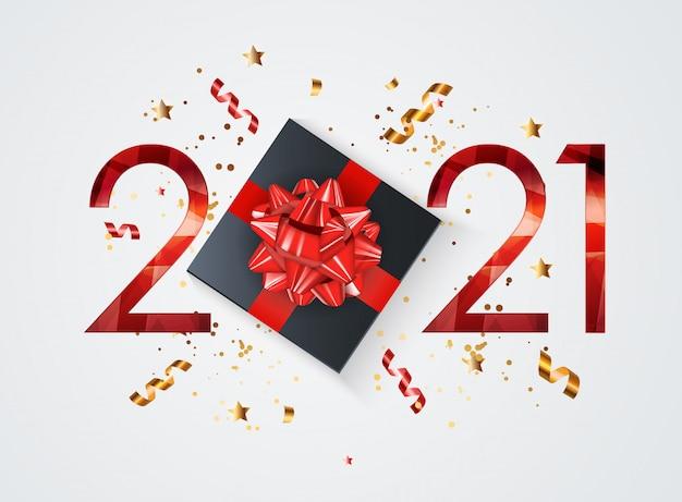 Vacaciones 2021 año nuevo y feliz navidad fondo. ilustración vectorial |  Vector Premium