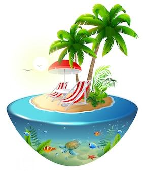 Vacaciones aisladas en una isla tropical. dos chaise lounge, palmera y mundo submarino