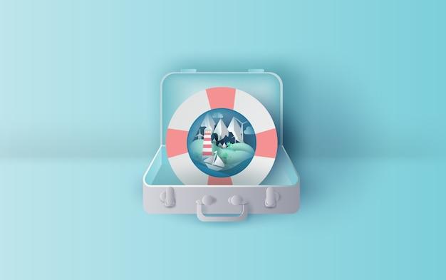 Vacaciones con anillo de natación en concepto de maleta