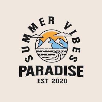 Vacaciones en balneario con ilustración de lineas de montaña. palmeras de lineart en la ilustración del logotipo de la insignia de playa