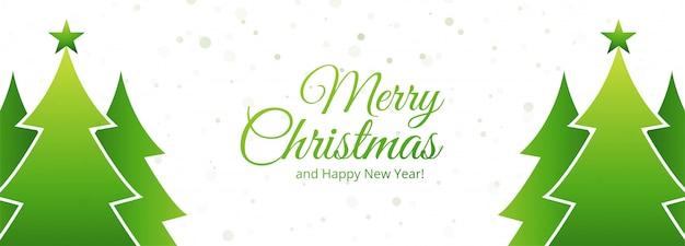 Vacaciones de banner de tarjeta de árbol de navidad verde