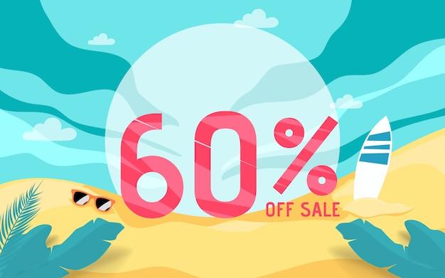 Vacaciones de banner de venta de verano con escena de playa.