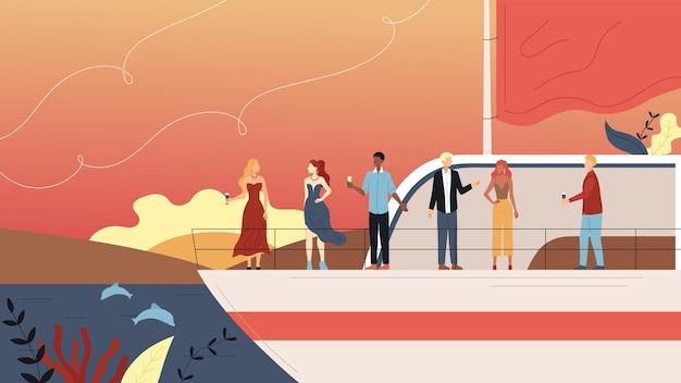 Vacaciones en el concepto de crucero. gente sonriente haciendo fiesta en yate ferry, beber alcohol. vacaciones en el mar, viajes por mar y amistad con personas vip. estilo plano de dibujos animados. ilustración de vector.