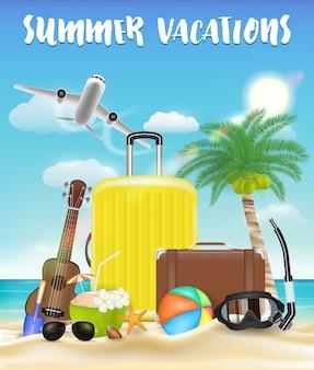 Vacaciones de verano con bolsa y playa objeto de viaje