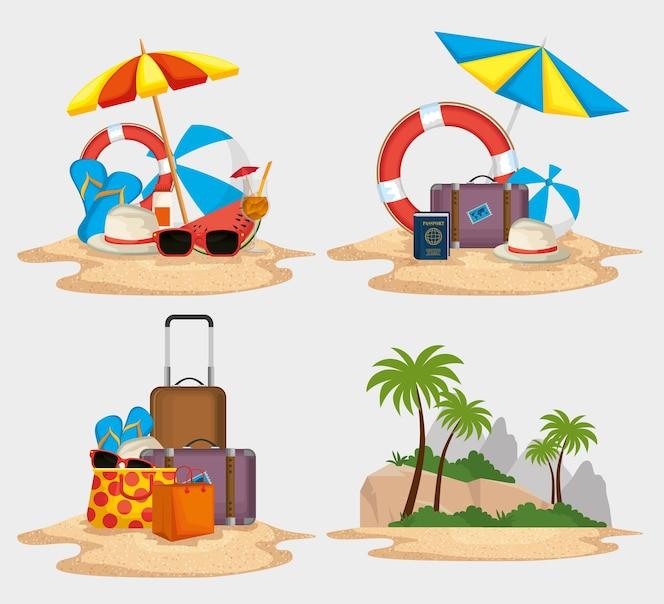 Vacaciones de verano establece iconos ilustración vectorial diseño