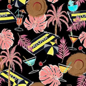 Vacaciones de verano vacaciones vector colorido de patrones sin fisuras