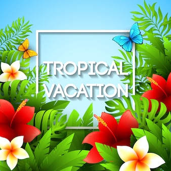 Vacaciones exóticas ilustración con plantas y flores tropicales