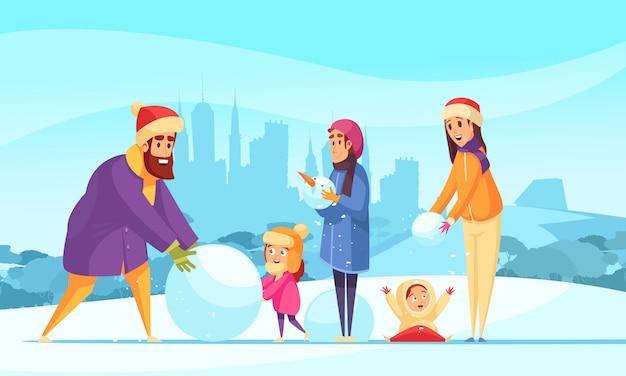 Vacaciones familiares activas en invierno padres e hijos con bolas de nieve en el fondo de siluetas de la ciudad