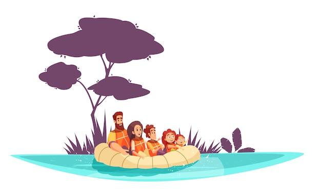 Vacaciones familiares activas padres e hijos en chalecos salvavidas en dibujos animados de balsa inflable