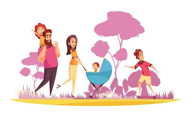 Vacaciones familiares activas padres con hijos durante el verano pasear sobre fondo de dibujos animados de siluetas de árboles