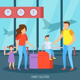 Vacaciones familiares en el aeropuerto