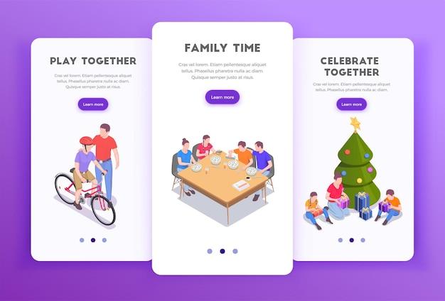 Vacaciones familiares conjunto de banners verticales con botones de cambio de página texto e imágenes editables