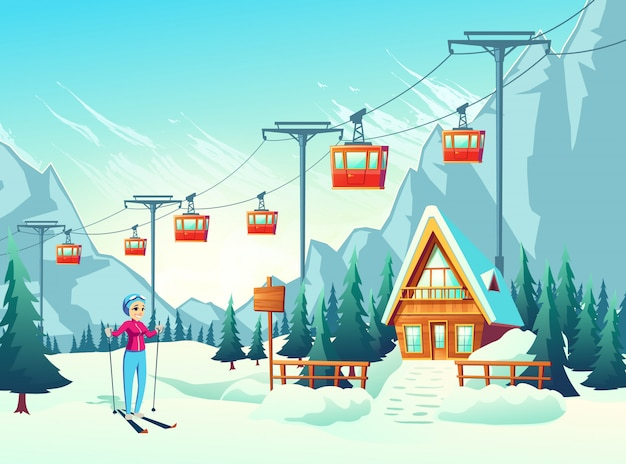 Vacaciones de invierno, ocio activo de fin de semana en resort de montaña.
