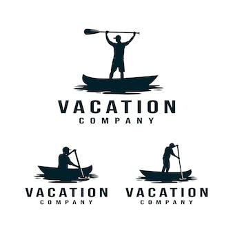 Vacaciones, kayak, logotipo de canoa. hombre remando