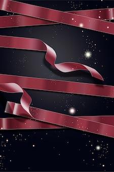 Vacaciones de lujo con polvo de oro y cinta roja sobre fondo oscuro