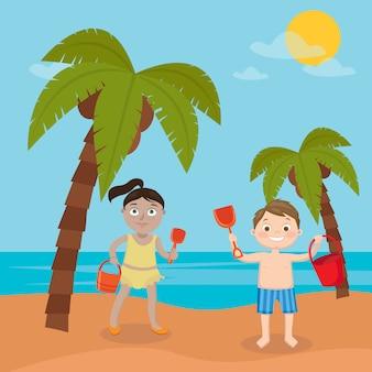 Vacaciones en el mar para niños. niña y niño jugando en la playa. ilustración vectorial