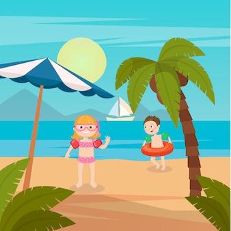 Vacaciones en el mar para niños. niña y niño nadando en la playa. ilustración vectorial