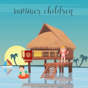 Vacaciones en el mar para niños. niña y niño en la playa bungalows. ilustración vectorial