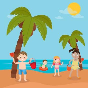 Vacaciones en el mar para niños. niñas y niños jugando y nadando en la playa. ilustración vectorial
