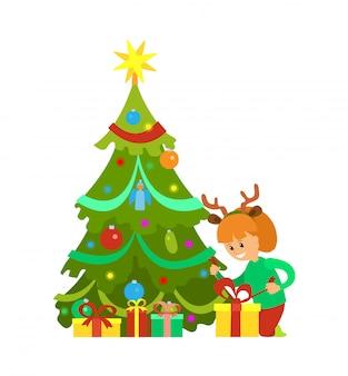 Vacaciones de navidad nochevieja, niña y árbol