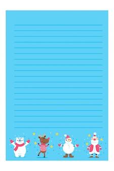 Vacaciones de navidad o año nuevo para hacer listas, notas con ilustraciones de invierno