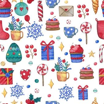 Vacaciones de navidad, patrón vintage acuarela