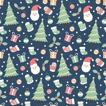 Vacaciones de navidad de patrones sin fisuras, fondo de dibujos animados