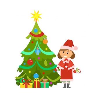 Vacaciones de navidad pine tree and snow maiden woman