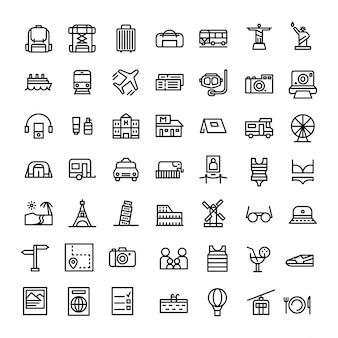 Vacaciones o conjunto de iconos de vacaciones en línea estilo vector