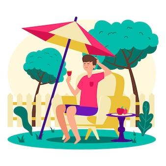 Vacaciones en el patio con sombrilla