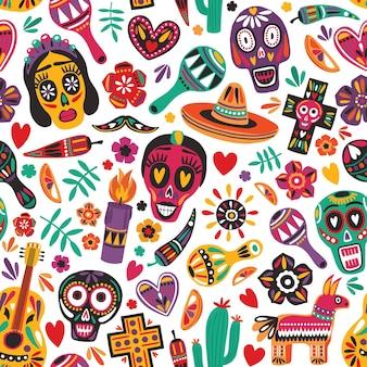 Vacaciones de patrones sin fisuras decoradas con calaveras mexicanas, pimienta, piñata, cruz, vela, maracas, guitarra, sombrero, cactus sobre fondo blanco. ilustración de vector de colores brillantes para el telón de fondo festivo.