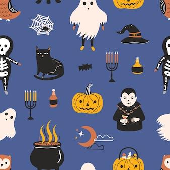 Vacaciones de patrones sin fisuras con divertidos personajes y elementos mágicos aterradores: fantasma, esqueleto, vampiro, linterna de calabaza, sombrero de bruja y olla, luna creciente