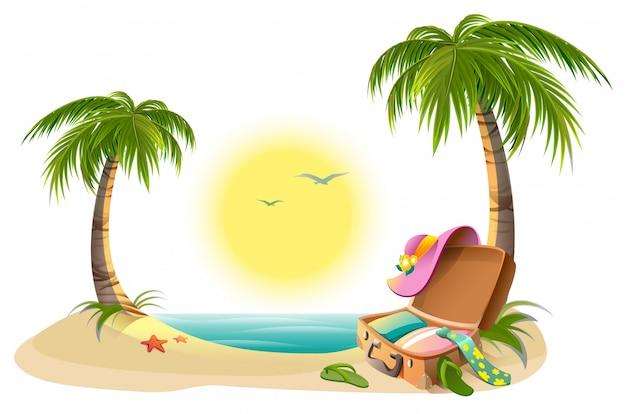 Vacaciones en la playa en vacaciones de verano. sol tropical, mar, palmeras, arena y maleta abierta
