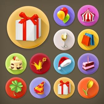 Vacaciones y regalos, conjunto de iconos de larga sombra
